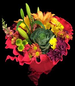 cod 206 - Ramo redondo con flores multicolores y una flor de repollo, con papel crep a elección