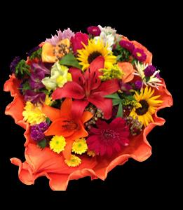 cod 215 - Ramo redondo multicolor con girasoles, liliums, liciantus, rosas y flores varias en tonos naranjas con papel crep al tono