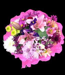 cod 216 - Ramo redondo con liliums y flores varias en tonos rosados y papel crep al tono