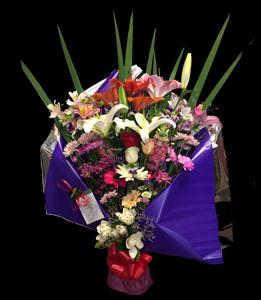 cod 217 - Ramo grande en tonos rosados abierto con liliums, rosas, astromelias, gerberas y flores varias
