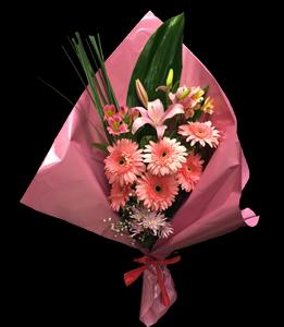 cod 218 - Ramo de gerberas rosadas con liliums y astromelias