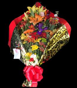 cod 219 - Ramo multicolor grande con liliums, gerberas, margaritas, pumitas, iris, astromelias y verdes a tono