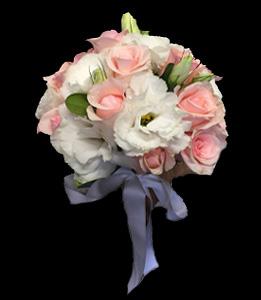 cod 400 - Ramo con rosas rosadas y liciantus blancos