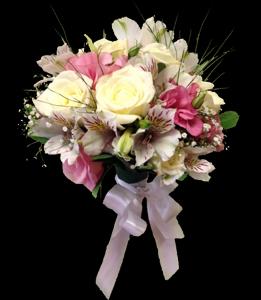 cod 402 - Ramo chico para civil de astromelias blancas, rosadas y mini rosas rosadas