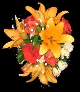 cod 404 - Ramo con liliums salmón, rosas naranjas, mini rosas y follaje
