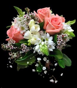 cod 405 - Ramo chico para civil con rositas rosadas, fresias blancas, ornitogalun y follaje al tono