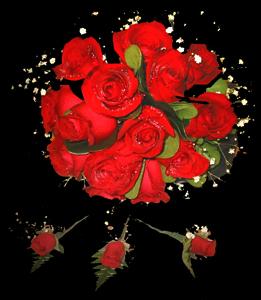 cod 406 - Ramo redondo de rosas rojas y botonier de mini rosas rojas