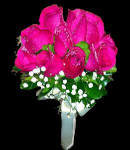 cod 408 - Ramo redondo de rosas fucsias