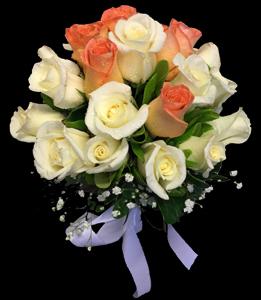 cod 410 - Ramo redondo de rosas en dos tonos