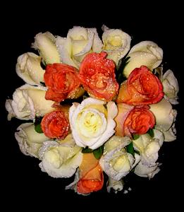 cod 410 bis - Ramo redondo de rosas en dos tonos