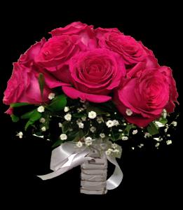 cod 413 - Ramo redondo de rosas fucsias