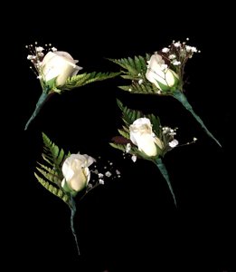 cod 415 - Botonier de rosas baby blancas