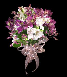 cod 416 - Ramo civil chico de astromelias lilas y blancas