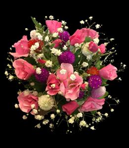 cod 419 - Ramo para civil chico con gofrenas y rosa mosqueta