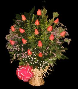 cod 101 - Canasta con 15 rosas rosadas