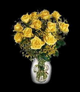 cod 103 - Florero con 12 rosas amarillas