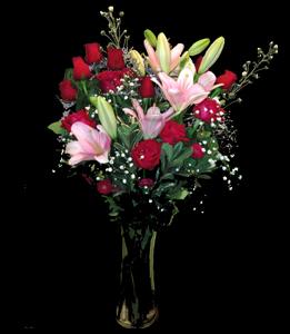 cod 105 - Florero con rosas y liliums rosados