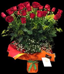 cod 115 - Florero con 36 rosas rojas