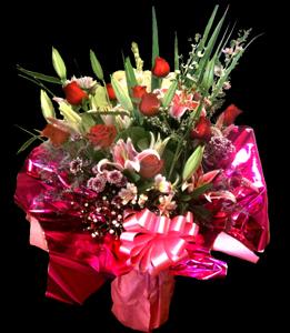cod 116 - Florero con rosas rojas, liliums, delfis, pumitas