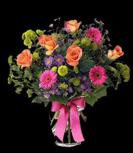 cod 300 - Florero de vidrio con rosas naranjas, gerberas, pumitas verdes y reinas margaritas con follaje al tono