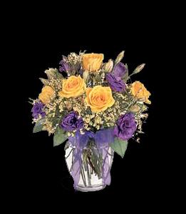 cod 304 - Florero de vidrio con liciantus lila y rosas naranjas