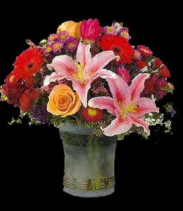 cod 306 - Florero de cerámica con liliums, rosas, gerberas, reinas y follaje al tono