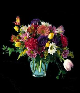 cod 310 - Florero de vidrio con flores multicolores