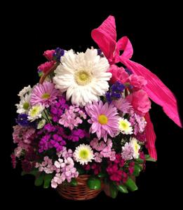 cod 311 - Arreglo en base plástica con oasis en flores varias en tonos rosados
