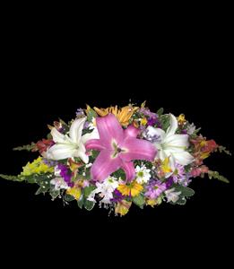 cod 313 - Arreglo con liliums y flores multicolores de 0,40 cm de largo aprox