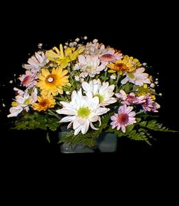 cod 314 - Centro de mesa chico con flores varias multicolor