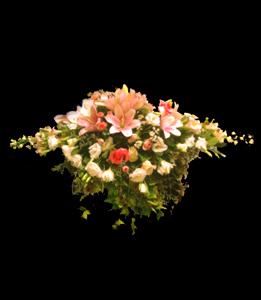 cod 316 - Arreglo para mesa principal con caída, con gereberas, lilium, mini rosas, rosas en tonos rosados