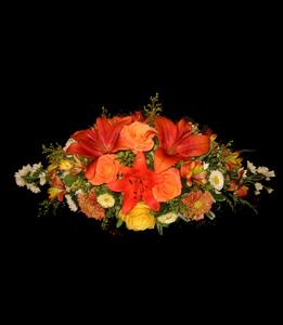 cod 318 - Centro grande con liliums, rosas, margaritas y flores varias en tonos naranjas