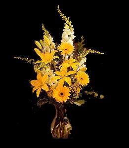 cod 322 - Florero con conejitos, gerberas, liliums en tonos amarillos